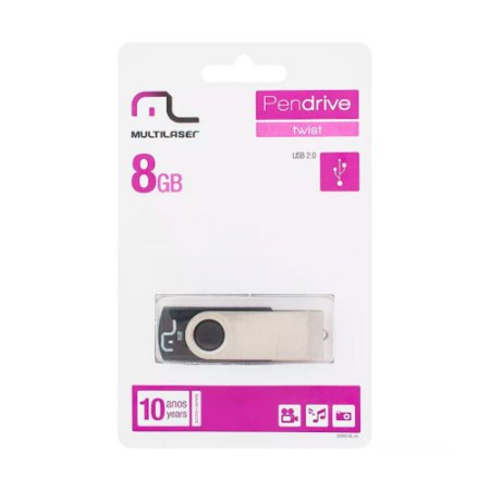 Pen Drive Twist Preto 8GB - Multilaser