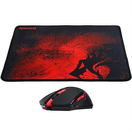 Kit Mouse e Mousepad Gamer Redragon M601-BA 3200dpi Control Macio com fio