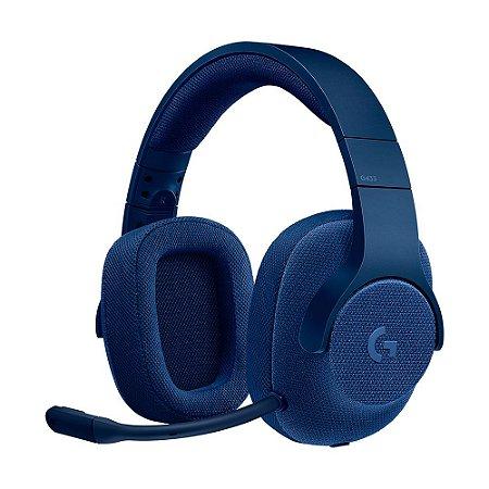 Headset Gamer Logitech G433 7.1 Azul com fio - Multiplataforma
