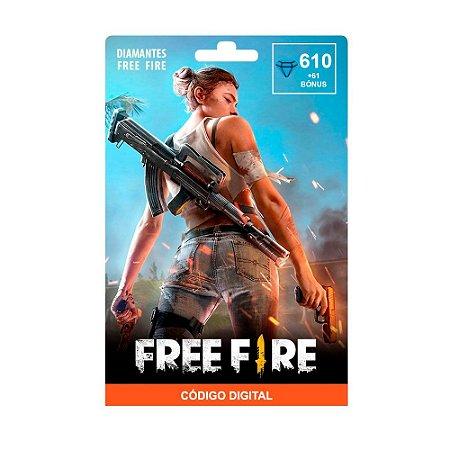 Cartão Presente Garena Free Fire 610 Diamantes + 61 de Bônus