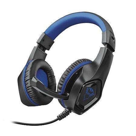 Headset Gamer Trust GXT Rana Preto e Azul com fio - PS4