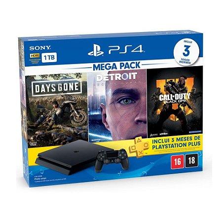 Console PlayStation 4 Slim 1TB + 3 Jogos + 3 Meses Playstation Plus - Sony