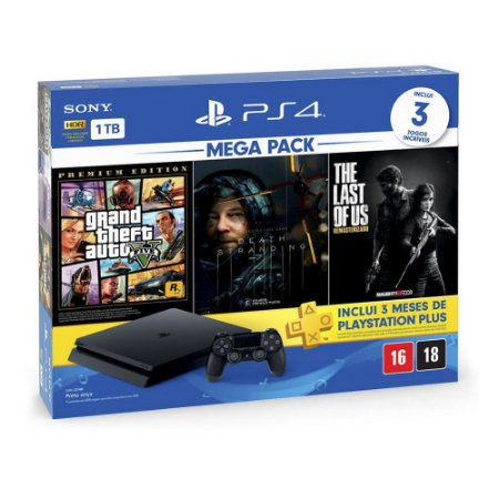 Console PlayStation 4 Slim 1TB + 3 Jogos + 3 Meses Playstation Plus (Bundle Hits 9) - Sony