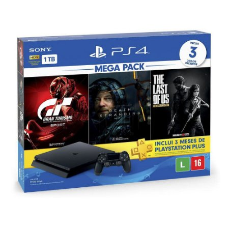 Console PlayStation 4 Slim 1TB + 3 Jogos + 3 Meses Playstation Plus (Bundle Hits 10) - Sony