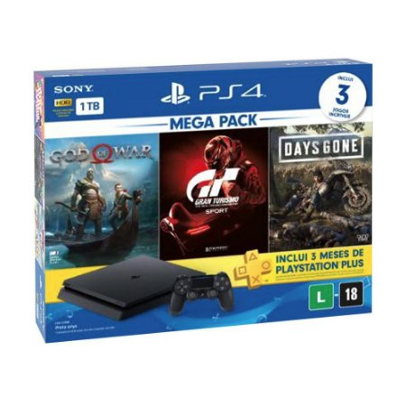 Console PlayStation 4 Slim 1TB + 3 Jogos + 3 Meses Playstation Plus (Bundle Hits 12) - Sony