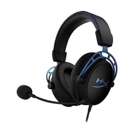 Headset Gamer HyperX Cloud Alpha S HX-HSCAS-BL/WW 7.1 Preto e Azul com fio - PC e PS4