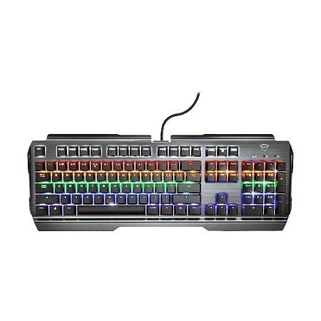 Teclado Mecânico Gamer Trust Scarr GXT 887 Rainbow Switch Red US com fio