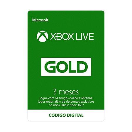 Cartão Xbox Live Gold 3 meses - Microsoft