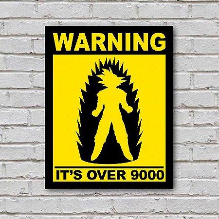 Placa de Parede Decorativa: Warning! Its Over 9000 - ShopB