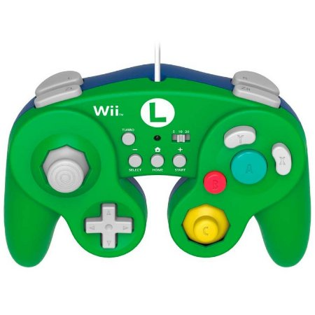 Controle Gamecube Battle Pad Luigi com fio: Edição Super Mario - Wii U e Wii