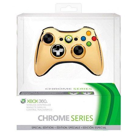 Controle Microsoft Edição Especial Cromado Dourado sem fio - Xbox 360