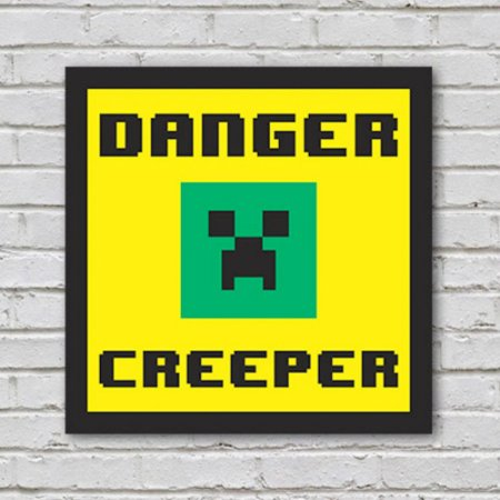 Placa de Parede Decorativa: Danger! Creeper - ShopB