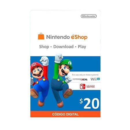 Cartão Presente $20 (dólares) eShop - Nintendo