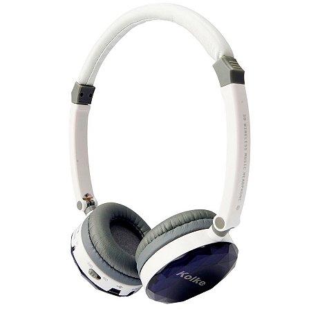 Headphone Kolke Multimídia Branco e Roxo sem fio com Rádio FM e Cartão Micro Sd