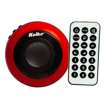 Caixa de Som Kolke Vermelha com Controle Remoto