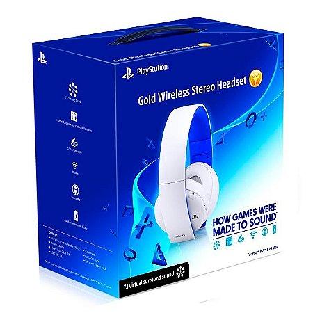 Headset Sony Gold Stereo 2.0 Branco sem fio - PS3, PS4 e PS Vita