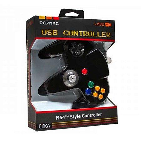 Controle N64 Hyperkin Preto Cirka USB com fio - Pc / Mac
