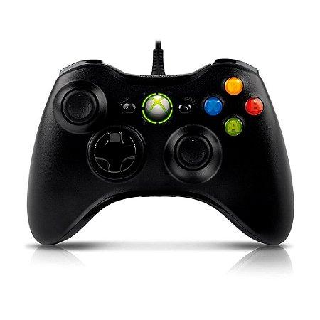 Controle Microsoft Preto com fio - PC e Xbox 360