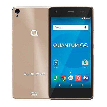 Celular Quantum Go Champagne Gold 5'' 3G Micro Dual Chip - 16 Gb