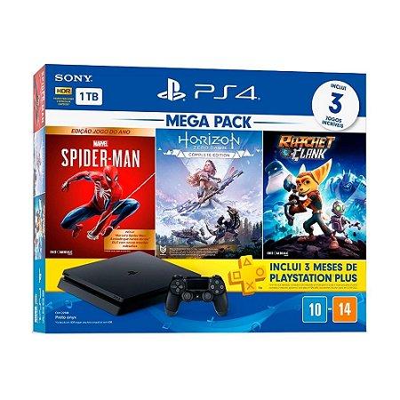 Console PlayStation 4 Slim 1TB + 3 Jogos + 3 Meses Playstation Plus (Bundle Hits 15) - Sony
