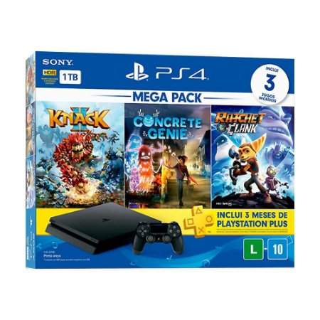 Console PlayStation 4 Slim 1TB + 3 Jogos + 3 Meses Playstation Plus (Mega Pack Family) - Sony