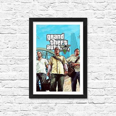Pôster Emoldurado ShopB Grand Theft Auto V (GTA 5) - Modelo 1