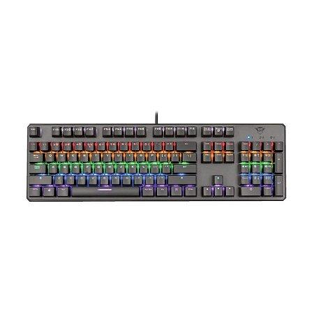 Teclado Mecânico Gamer Trust Asta GTX 865 Rainbow US com fio