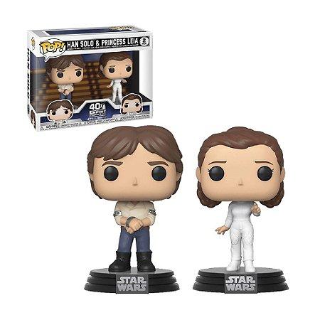 Boneco Han Solo & Princess Leia 2 Pack Star Wars - Funko Pop!