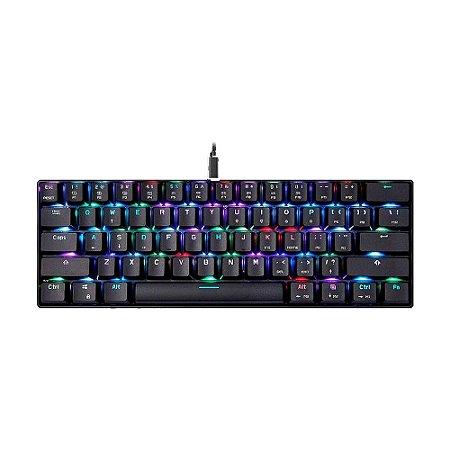 Teclado Mecânico Gamer Motospeed CK61 RGB Switch Blue US com fio