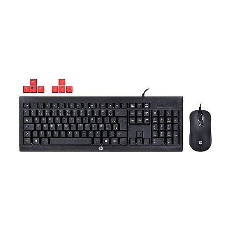 Kit Gamer HP Teclado e Mouse KM100 1600 DPI PT com fio