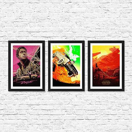 Kit c/ 3 Pôsteres Emoldurados ShopB Filmes - Modelo 1