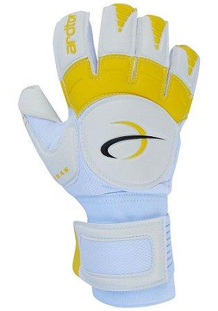 Luvas de Goleiro Arcitor Keras HTEX Flat (Branco Amarelo) D-SOFT 3mm