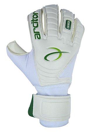 Luvas de Goleiro Arcitor Komino Rollfinger (Branco Verde) SCF Elite