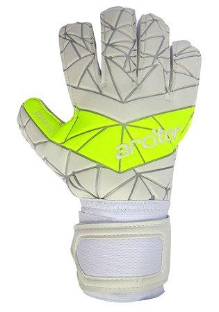 Luvas de Goleiro Arcitor Palaso Flat Semipro (Branco Amarelo Fluo) D-SOFT