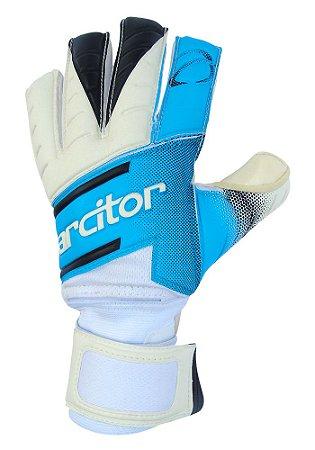Luvas de Goleiro Arcitor Volka Negative Finger Protection Extended (Azul Branco) SCF Elite