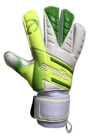 Luvas de Goleiro Arcitor Volka Flat Finger Protection Semipro (Verde-Limão Branco) D-SOFT
