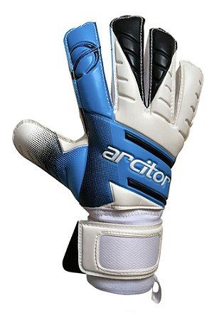 Luvas de Goleiro Arcitor Volka Flat Finger Protection Semipro (Azul Branco Preto) D-SOFT
