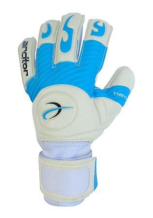 Luvas de Goleiro Arcitor Havik Negative Finger Protection Semipro (Branco Azul Claro) D-SOFT