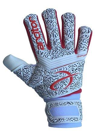 Luvas de Goleiro Arcitor Dumyat Negative Finger Support (Branco Vermelho) D-SOFT 3mm