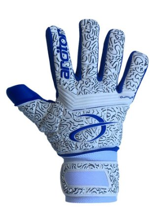 Luvas de Goleiro Arcitor Dumyat Negative Finger Support (Branco Azul Royal) D-SOFT 3.5mm