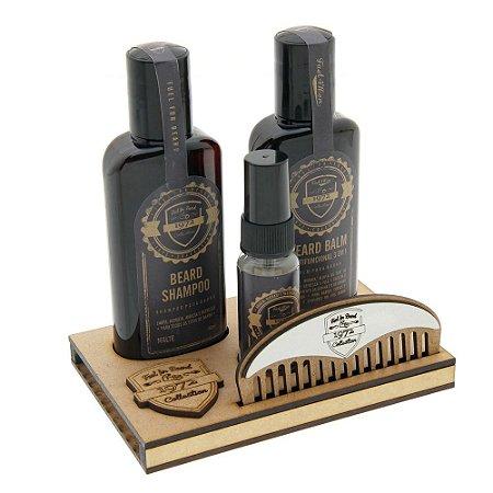Kit para barba Essencial 1972 Fuel for Beard MALTE com suporte em madeira - Shampoo, Balm, Óleo e pente meia lua para Barba