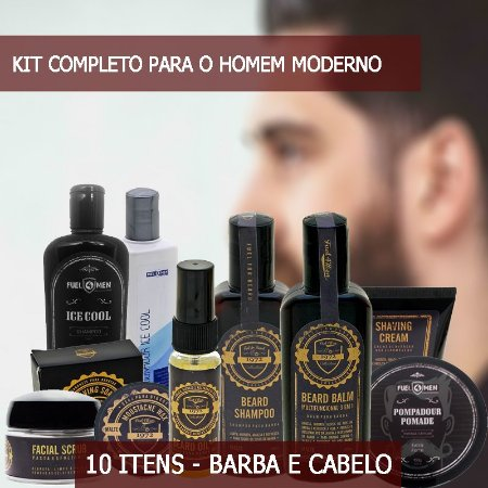 Kit Completo para barba e cabelo Fuel4Men