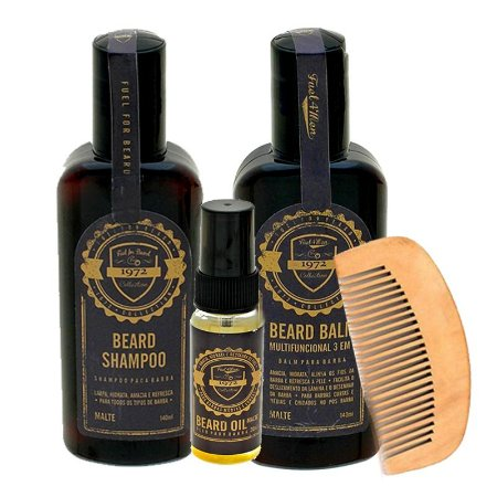 Kit cuidados com a barba + pente em madeira Fuel4Men