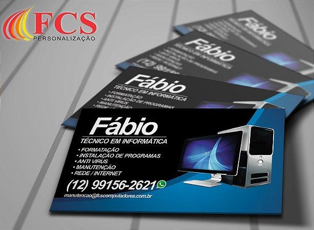 Cartão de Visita - 48x88mm Couchê - 250g - 4x4 Verniz Total Frente