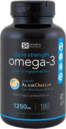 Omega 3 1250mg Sports Research - 180 capsulas