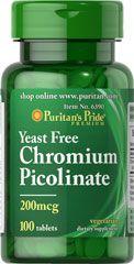 Picolinato de Cromo Puritan's 100 tablets 200 mg