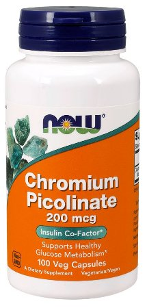 Picolinato de Cromo NOW 200mcg 100 Veg Caps