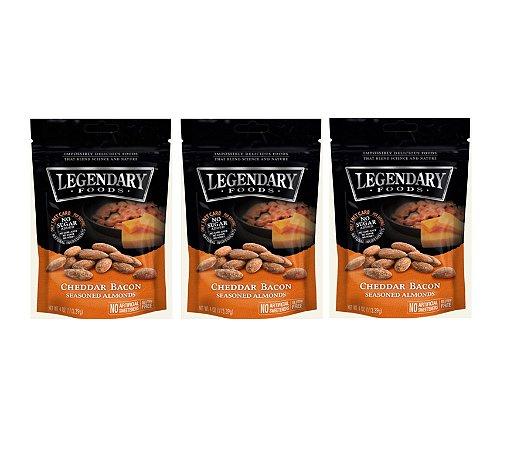Amêndoas Temperadas Legendary Foods - 3 unidades (Cheddar Bacon) 114g por pacote