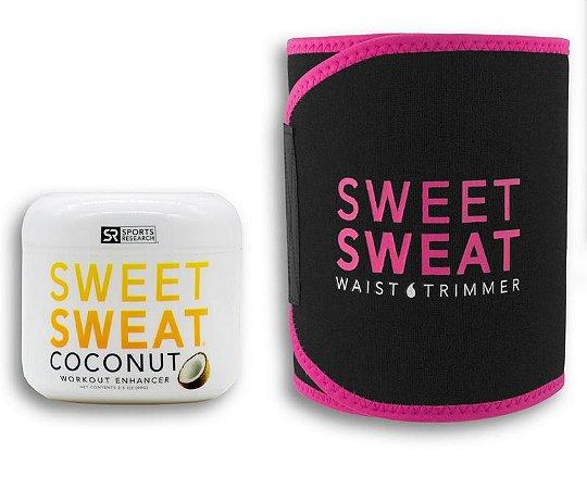 Sweet Sweat Coconut 99g + Cinta de Neoprene Rosa Frete Grátis