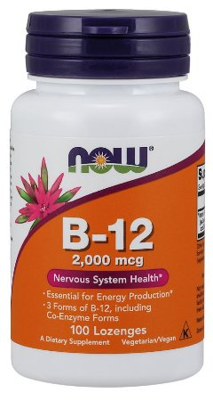 Vitamina B12 2,000mcg NOW 100 Lozenges